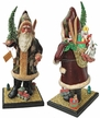 Santa, Old Red Coat with Pinecone Decor on Wood Base Paper Mache Candy Container by Ino Schaller