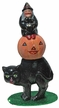 Cat, Black with Pumpkin & Witch on Top Paper Mache Candy Container by Ino Schaller