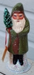 Santa, Green with Mica Snow Paper Mache Candy Container by Ino Schaller