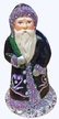 Santa with Purple Coat & Green Bag Paper Mache Candy Container by Ino Schaller