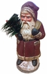 Old Style Santa in Red Coat Paper Mache Candy Container by Ino Schaller