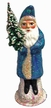 Santa in Blue Sponged Coat Paper Mache Candy Container by Ino Schaller