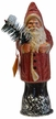 Santa, Dusty Red Beaded with Cream Edge Paper Mache Candy Container by Ino Schaller