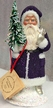 Purple & White Beaded Santa Paper Mache Candy Container by Ino Schaller