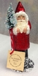 Red Sponged with Chenille Cuffs Santa Paper Mache Candy Container by Ino Schaller