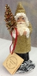 Gold Beaded with Chenille Cuffs Santa Paper Mache Candy Container by Ino Schaller