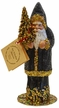 Black Beaded with Gold Trim Santa Paper Mache Candy Container by Ino Schaller