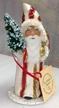 White with Red & Gold Stripes Santa Paper Mache Candy Container by Ino Schaller