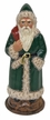 Green on Brown Base Santa Paper Mache Candy Container by Ino Schaller