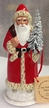 Red with Cream Ermine Edge Santa Paper Mache Candy Container by Ino Schaller