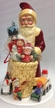 Old Red Coat Santa with Basket Paper Mache Candy Container by Ino Schaller