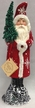 Red Beaded with White Snowflakes Santa Paper Mache Candy Container by Ino Schaller