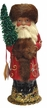 Russian Red Beaded with Brown Fur Santa Paper Mache Candy Container by Ino Schaller