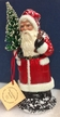 Shiny Red with White Beaded Trim Santa Paper Mache Candy Container by Ino Schaller