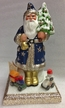 Navy Blue with Stars on Base Santa Paper Mache Candy Container by Ino Schaller