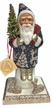 Santa in Blue Coat with Silver Trim on Base Paper Mache Candy Container by Ino Schaller