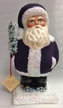 Purple Beaded Santa Paper Mache Candy Container by Ino Schaller