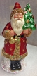 Red Matte with Gold Trim, Gold Bell & Tree Santa Paper Mache Candy Container by Ino Schaller