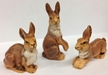 Set of 3 Rabbits Paper Mache Figurines by Marolin by Marolin