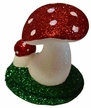 Double Mushroom with Red Glitter Paper Mache Candy Container by Ino Schaller