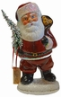 Santa, Old Red with Bear in Bag Paper Mache Candy Container by Ino Schaller