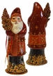 Santa Old, Red/Rust Colored with Gold Accents Paper Mache Candy Container by Ino Schaller