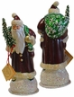 Santa Old Red with Green Bag Paper Mache Candy Container by Ino Schaller