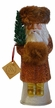 Santa Copper/Gold Beaded with Fur Cap & Muff Paper Mache Candy Container by Ino Schaller