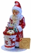 Santa, Red Coat with Toys in Reindeer Decor Paper Mache Candy Container by Ino Schaller