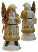 Santa, White Coat with Gold Landscape Santa Paper Mache Candy Container by Ino Schaller
