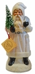 Santa, White with Beaded Edge Paper Mache Candy Container by Ino Schaller