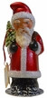 Santa St. Nick, Red with White Beaded Edge Paper Mache Candy Container by Ino Schaller
