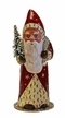 Santa, Red with Ermine like Edge Paper Mache Candy Container by Ino Schaller