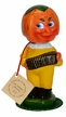 Pumpkin Nodder with Yellow Pants Paper Mache figurine by Ino Schaller