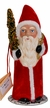Santa, Flocked Red Coat with Gold Bag Paper Mache Candy Container by Ino Schaller