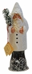 White Santa with Chenille Trim, One of a Kind Paper Mache Candy Container by Ino Schaller