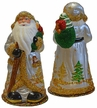 Silver Santa with Trees and Gold Trim, One of a Kind Paper Mache Candy Container by Ino Schaller