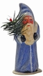 Dusty Blue Santa, One of a Kind Paper Mache Candy Container by Ino Schaller