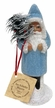 Light Blue, Beaded with Feather Tree, One of a Kind Paper Mache Candy Container by Ino Schaller