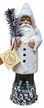 White with Feather Tree Santa Paper Mache Candy Container by Ino Schaller