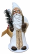 Crème and Beige with Feather Tree Santa Paper Mache Candy Container by Ino Schaller