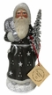 Grey Santa with Snowflakes, One of a Kind Paper Mache Candy Container by Ino Schaller