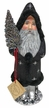 Black Santa, Silver Stars, One of a Kind Paper Mache Candy Container by Ino Schaller