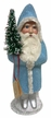Pastel Blue Beaded Santa, One of a Kind Paper Mache Candy Container by Ino Schaller
