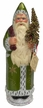 Green with Gold Stars Santa, One of a Kind Paper Mache Candy Container by Ino Schaller