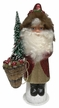 Red with Gold Santa, One of a Kind Paper Mache Candy Container by Ino Schaller