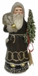 Brown Santa with Green Tree, One of a Kind Paper Mache Candy Container by Ino Schaller