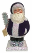 Beaded Purple Santa, One of a Kind Paper Mache Candy Container by Ino Schaller