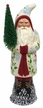 Cream with Leaves Santa, One of a Kind Paper Mache Candy Container by Ino Schaller