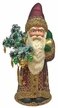 Bordeaux Santa with Reindeer, One of a Kind Paper Mache Candy Container by Ino Schaller